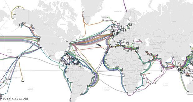 این نقشه فوقالعاده، کابل های اینترنت زیر دریا در سراسر جهان را نشان میدهد